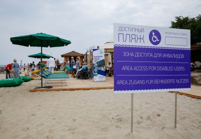 Beach in Pionersky for people with limited abilities